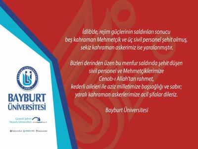 Bayburt Üniversitesinden Taziye Mesajı